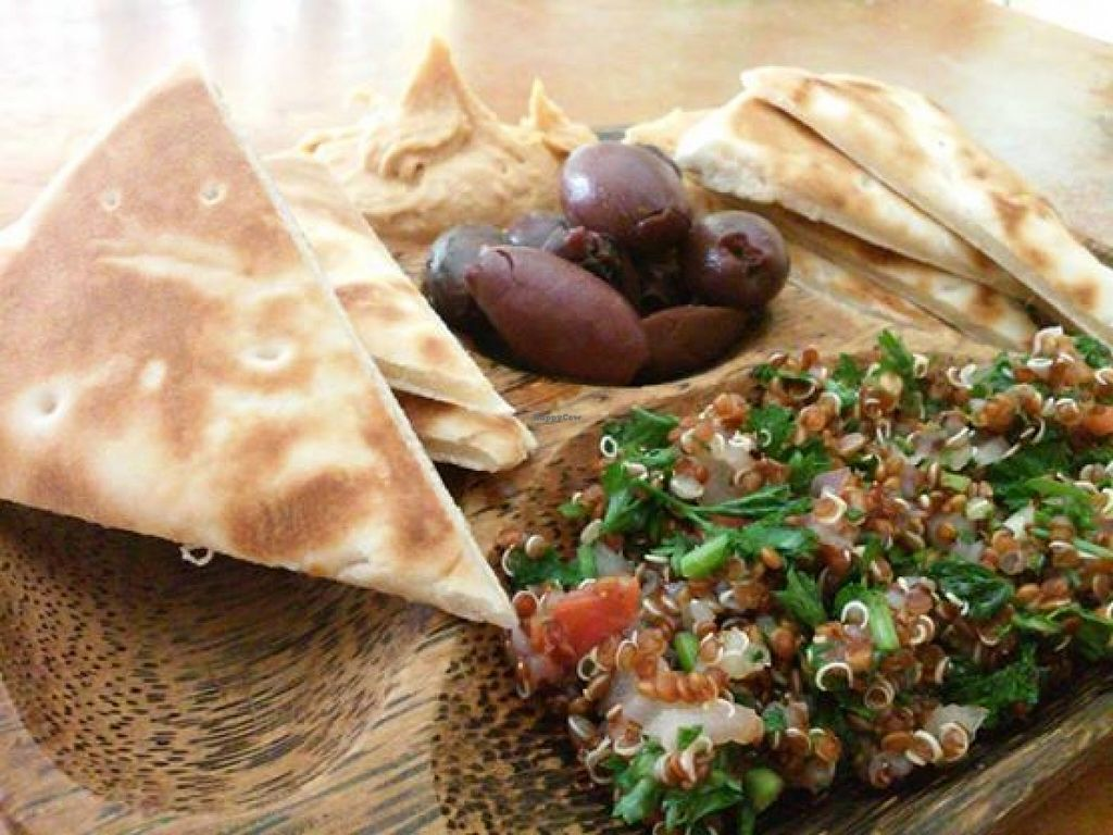"""Photo of Lotus Lounge  by <a href=""""/members/profile/bloominglotus107"""">bloominglotus107</a> <br/>Organic Hummus, Olives & Organic Red Quinoa Tabbouli <br/> February 4, 2016  - <a href='/contact/abuse/image/56282/135004'>Report</a>"""