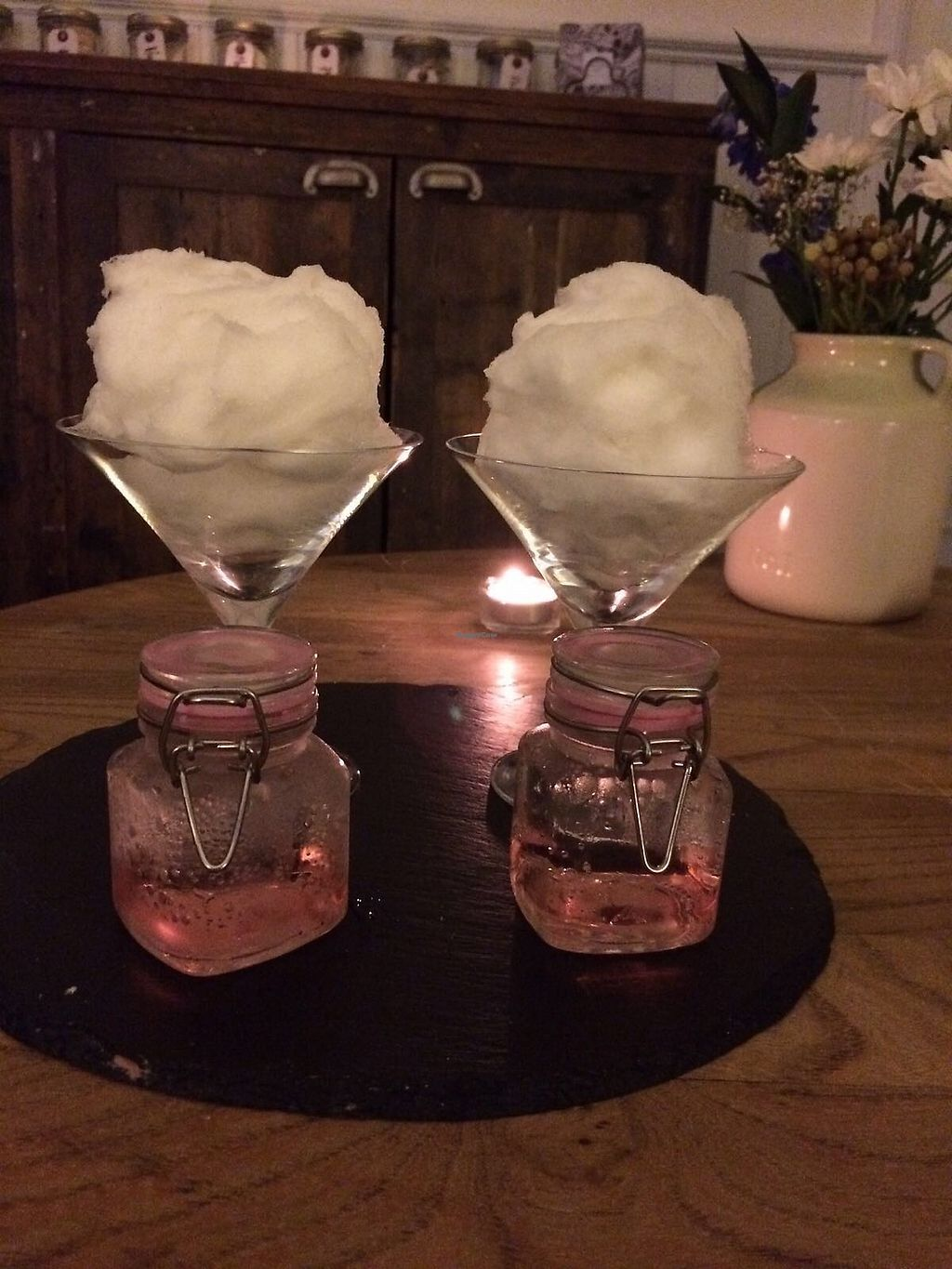 "Photo of Lush  by <a href=""/members/profile/avocado_jess"">avocado_jess</a> <br/>Vegan candy floss cocktails after 'The Comforter' spa treatment <br/> December 26, 2017  - <a href='/contact/abuse/image/56365/339179'>Report</a>"