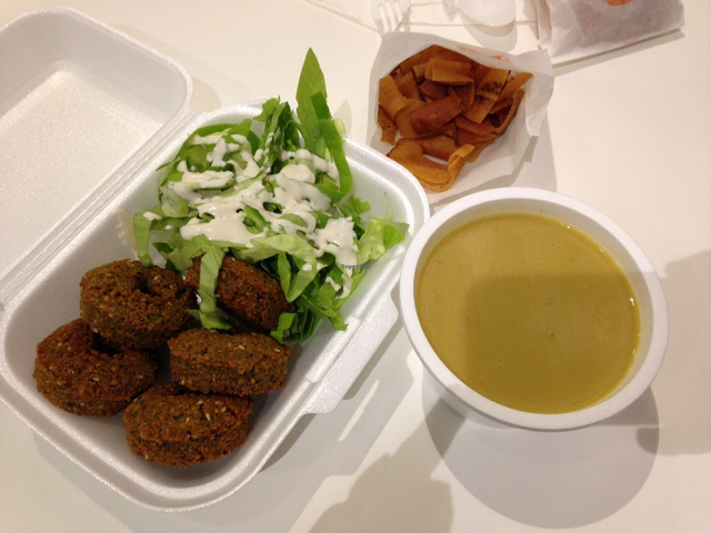 """Photo of Super Falafel - Balcescu  by <a href=""""/members/profile/DynaMo"""">DynaMo</a> <br/>falafel and salad with tahini, lentil soup, pita chips <br/> October 21, 2015  - <a href='/contact/abuse/image/56402/122067'>Report</a>"""