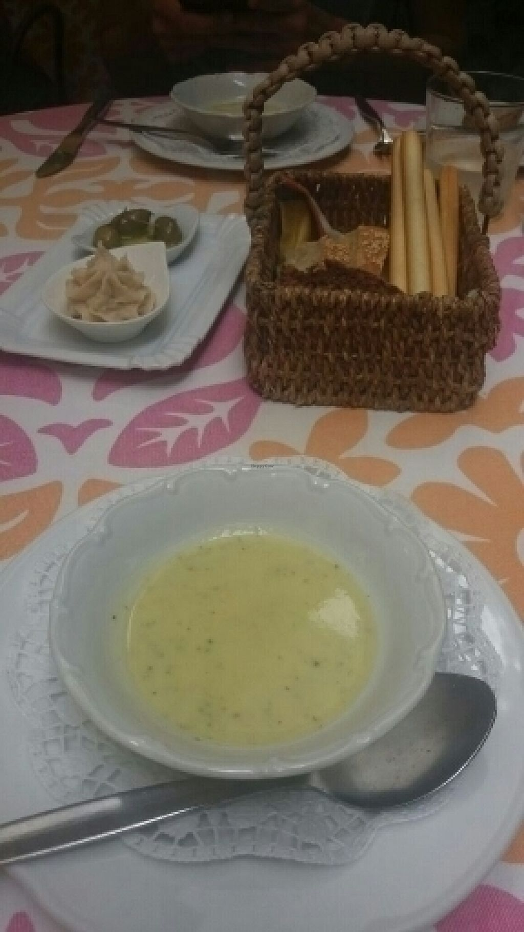 "Photo of Kaufmann Kaufmann  by <a href=""/members/profile/die_woelffe"">die_woelffe</a> <br/>appetiser (beanspread and homemade bread) & amuse gueule (broccoli coconut cream soup) <br/> July 28, 2016  - <a href='/contact/abuse/image/56417/162917'>Report</a>"