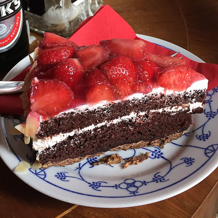 """Photo of Ramones Museum Berlin  by <a href=""""/members/profile/RachelAnnCoops"""">RachelAnnCoops</a> <br/>choc strawberry vegan cake <br/> June 26, 2017  - <a href='/contact/abuse/image/56423/273744'>Report</a>"""