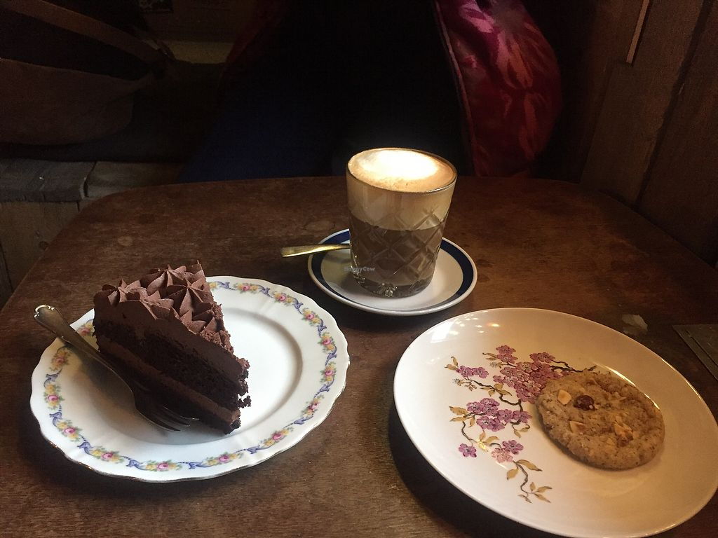 """Photo of Ramones Museum Berlin  by <a href=""""/members/profile/AlvinCoxall"""">AlvinCoxall</a> <br/>Chocolate cake, coffee and a cookie <br/> January 31, 2018  - <a href='/contact/abuse/image/56423/353166'>Report</a>"""