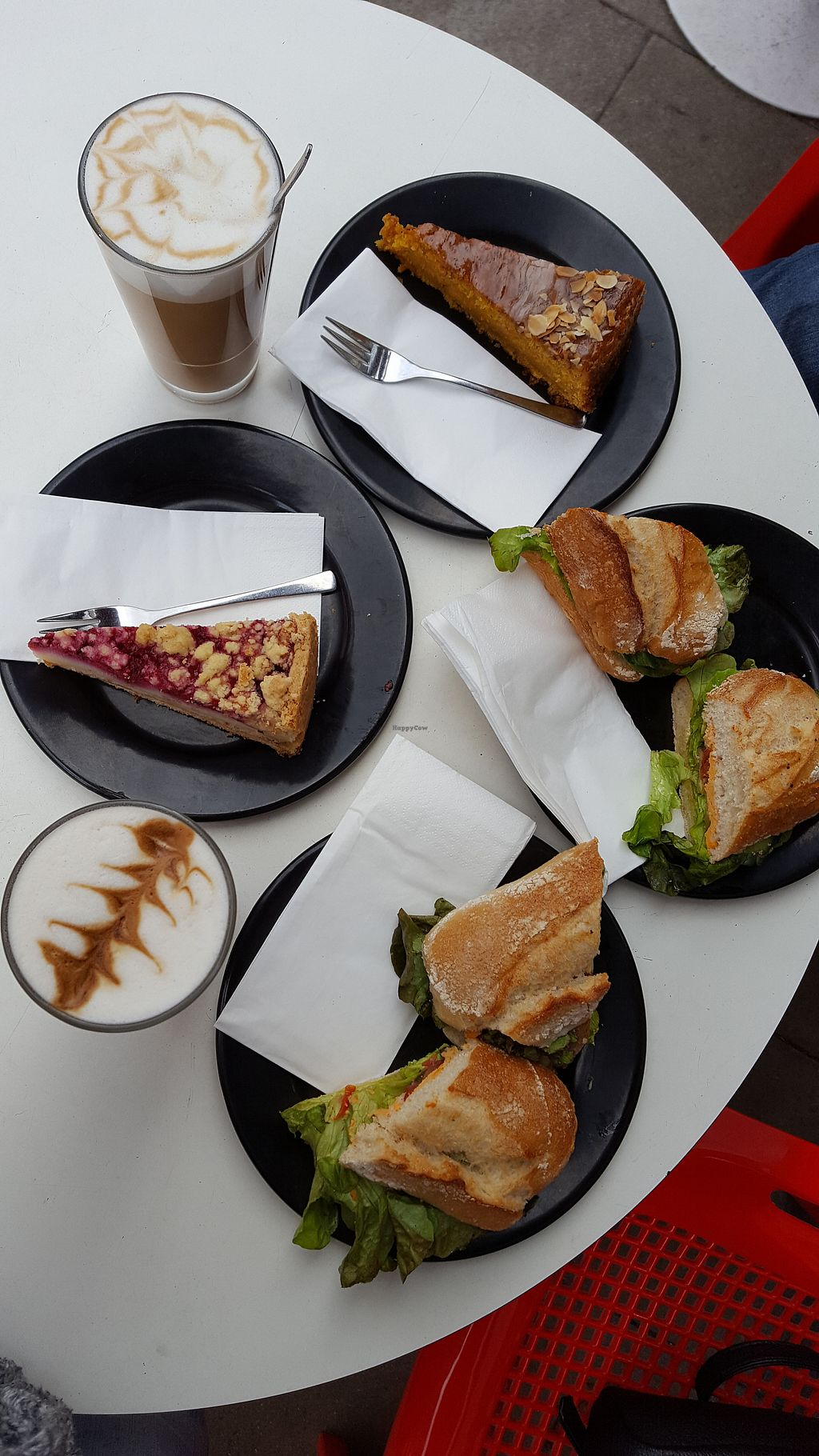 """Photo of Lost Weekend  by <a href=""""/members/profile/Seiashun"""">Seiashun</a> <br/>Carrot cake, berry cake, cafe lattes, hummus sandwich, antipasti sandwich <br/> October 22, 2017  - <a href='/contact/abuse/image/56426/317768'>Report</a>"""