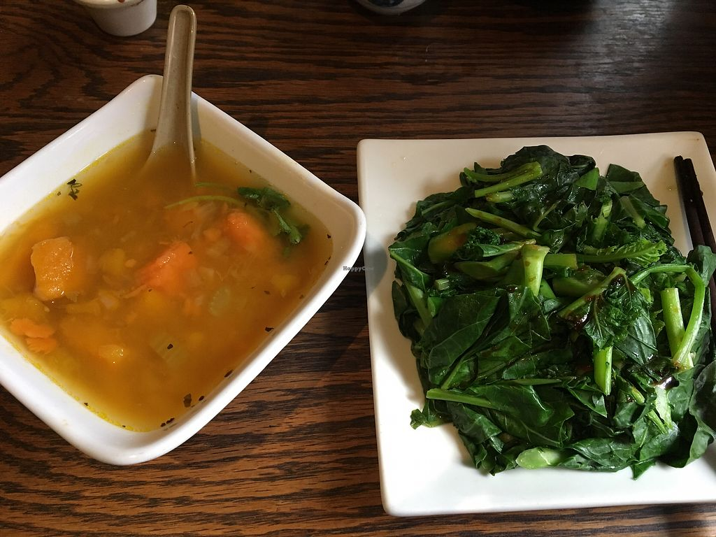 """Photo of LuAnne's Wild Ginger  by <a href=""""/members/profile/JJones315"""">JJones315</a> <br/>Pumpkin soup and steamed greens <br/> February 6, 2018  - <a href='/contact/abuse/image/5642/355707'>Report</a>"""