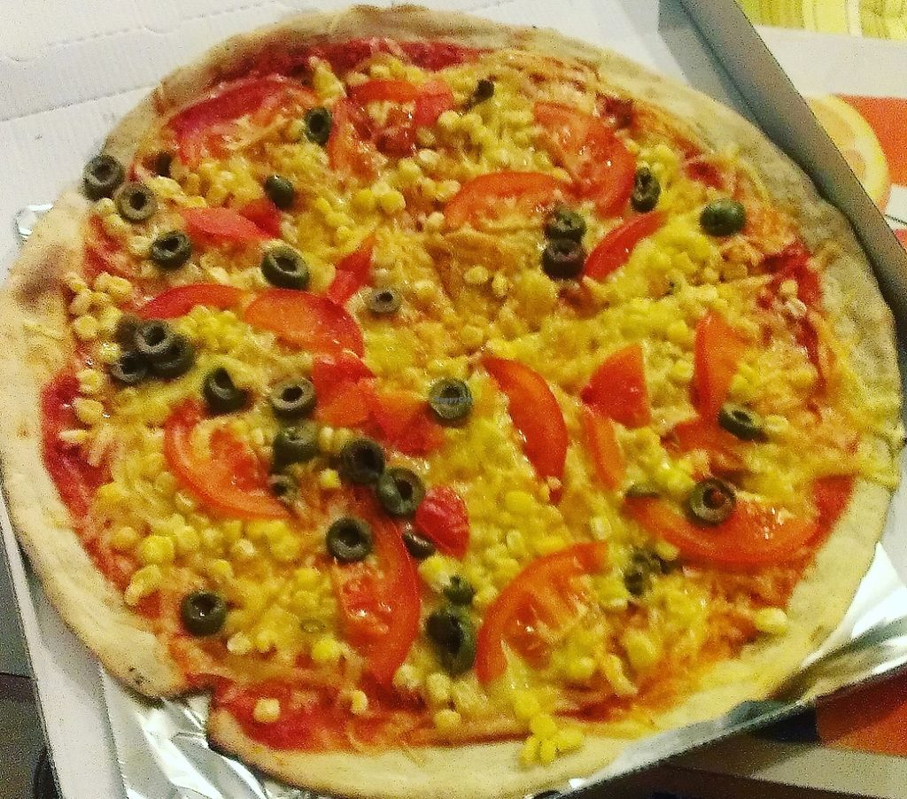 """Photo of CLOSED: Pizza Caesar  by <a href=""""/members/profile/Nikolate"""">Nikolate</a> <br/>one pizza with vegan cheese from delivery <br/> October 10, 2015  - <a href='/contact/abuse/image/56435/243669'>Report</a>"""