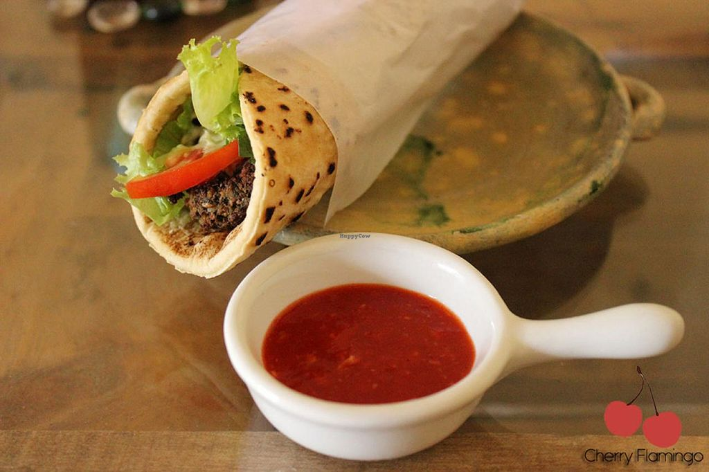 """Photo of United Falafel Organization  by <a href=""""/members/profile/CherryFlamingo"""">CherryFlamingo</a> <br/>Vegan Falafel wrap  <br/> June 3, 2015  - <a href='/contact/abuse/image/56461/104689'>Report</a>"""