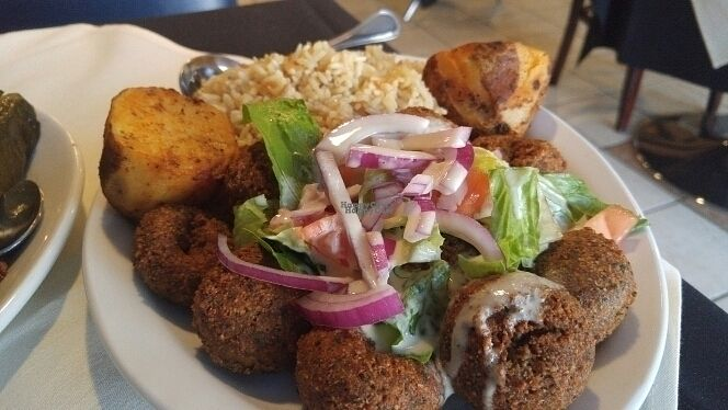 """Photo of The Kasbah  by <a href=""""/members/profile/3blackcats123"""">3blackcats123</a> <br/>falafel, rice and potatoes <br/> August 27, 2016  - <a href='/contact/abuse/image/56471/171667'>Report</a>"""