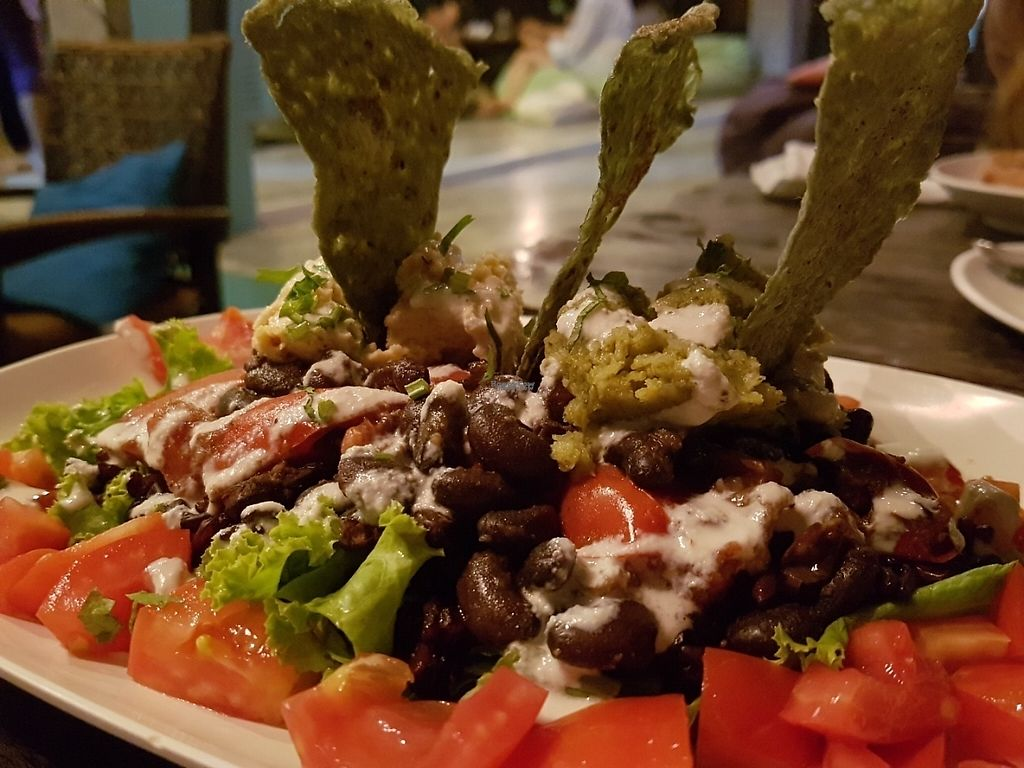 """Photo of Karma Kafe  by <a href=""""/members/profile/Rosa%20veg"""">Rosa veg</a> <br/>Salad with nachos  <br/> April 23, 2017  - <a href='/contact/abuse/image/56514/251304'>Report</a>"""