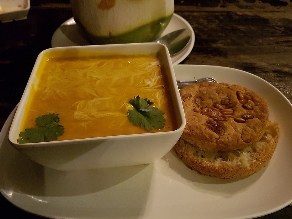 """Photo of Karma Kafe  by <a href=""""/members/profile/Rosa%20veg"""">Rosa veg</a> <br/>Lentil soup with bread  <br/> April 23, 2017  - <a href='/contact/abuse/image/56514/251305'>Report</a>"""