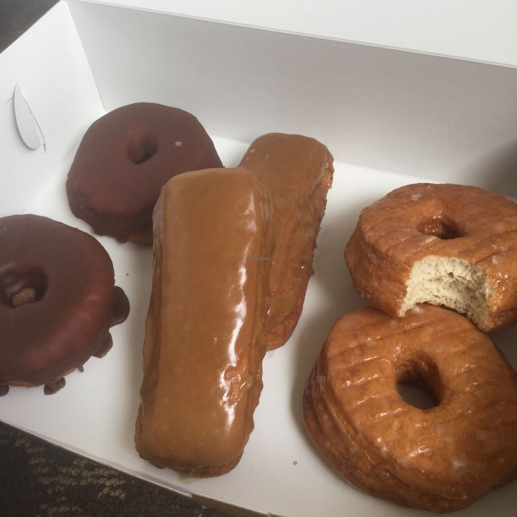 """Photo of Casual Friday Donuts  by <a href=""""/members/profile/J%20and%20J"""">J and J</a> <br/>All vegan: chocolate, maple, and glazed <br/> May 29, 2016  - <a href='/contact/abuse/image/56546/151267'>Report</a>"""