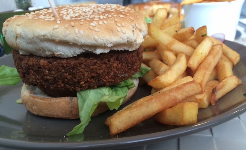 """Photo of Lupin Restaurante Vegetariano  by <a href=""""/members/profile/LilianaNicolau"""">LilianaNicolau</a> <br/>Chickpea burger  <br/> February 29, 2016  - <a href='/contact/abuse/image/56547/241499'>Report</a>"""