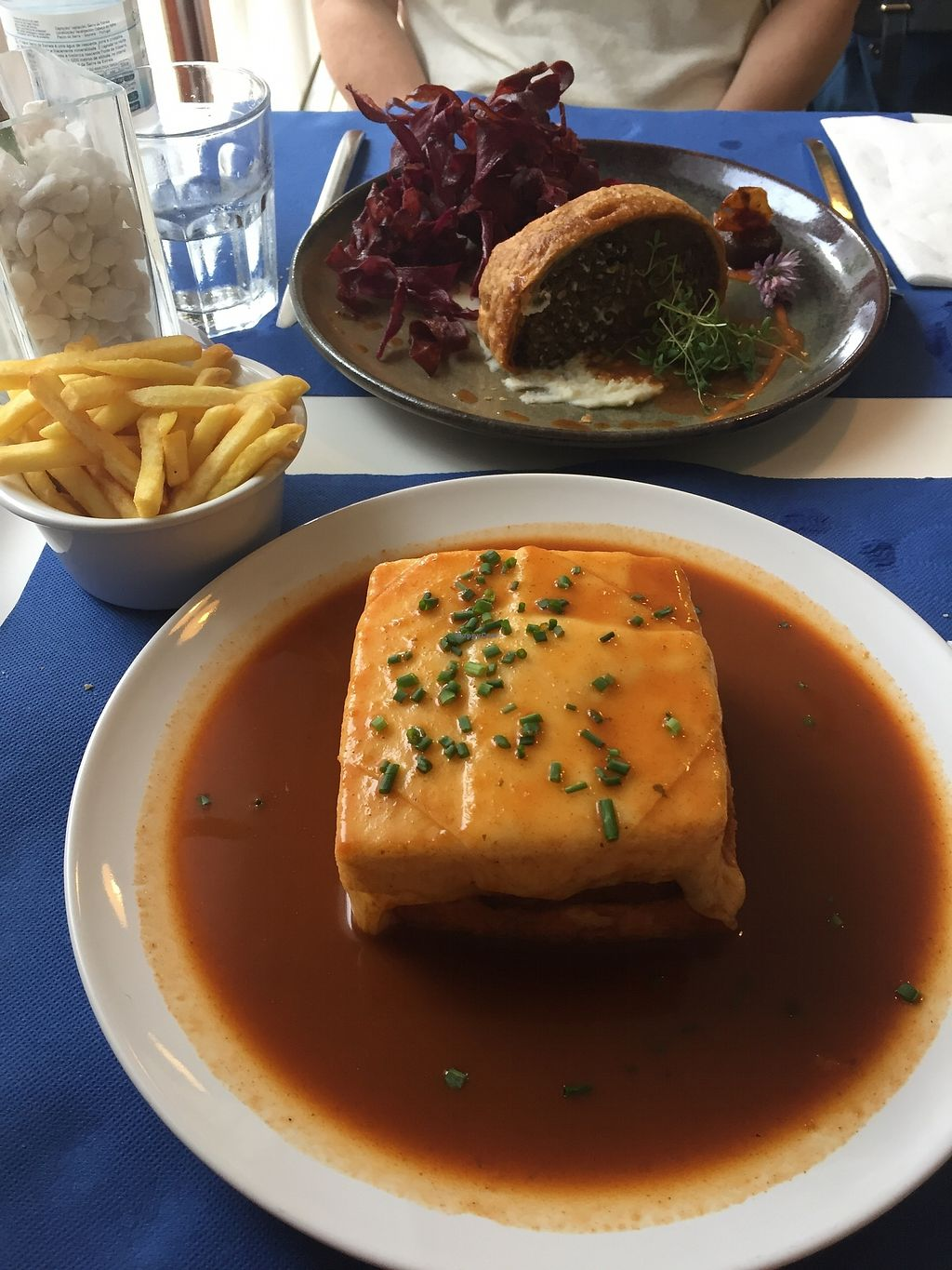 """Photo of Lupin Restaurante Vegetariano  by <a href=""""/members/profile/JennieRDS"""">JennieRDS</a> <br/>Francesinha, fries and lentil Wellington <br/> July 10, 2017  - <a href='/contact/abuse/image/56547/278673'>Report</a>"""