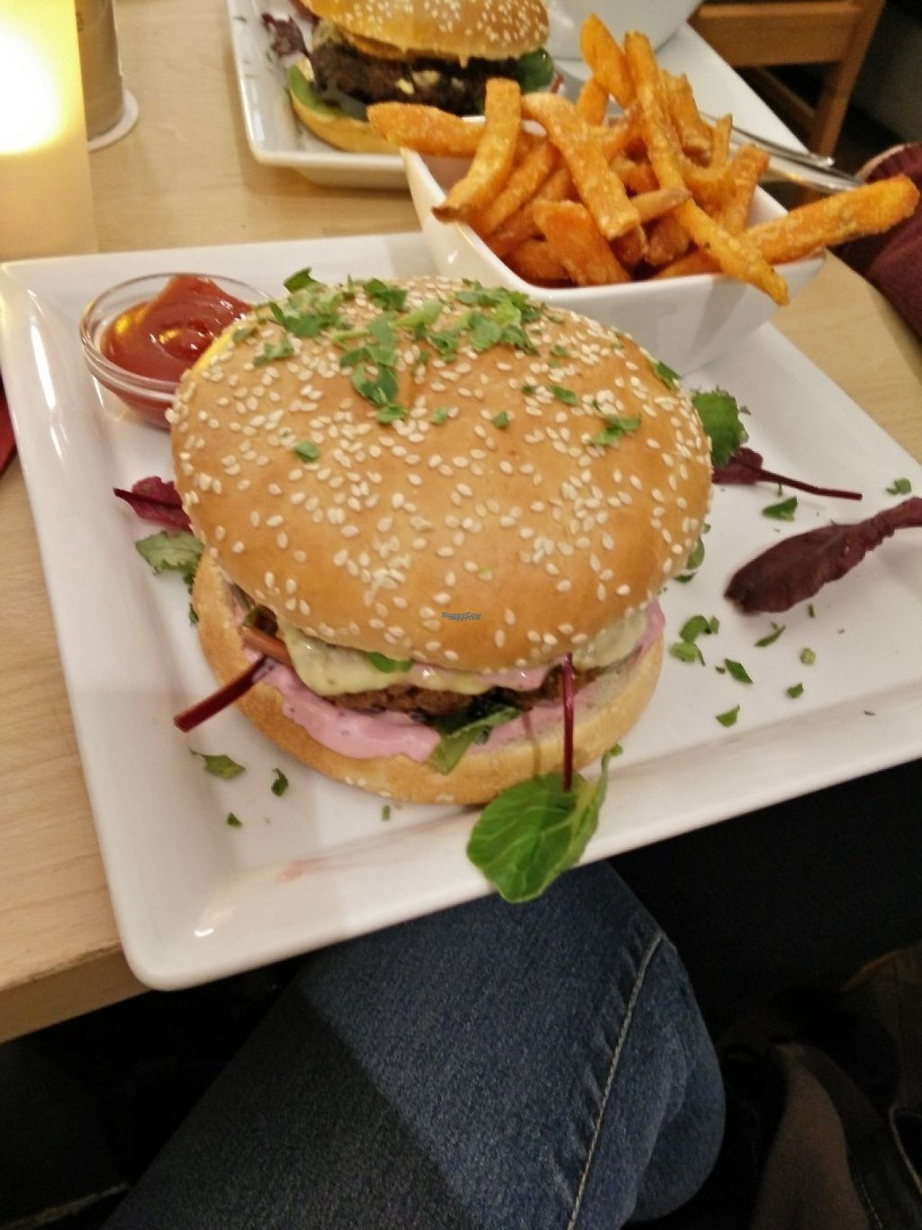 """Photo of Hofcafe  by <a href=""""/members/profile/Physalis"""">Physalis</a> <br/>Vegetarian burger, can be ordered in vegan too <br/> January 27, 2017  - <a href='/contact/abuse/image/56561/217959'>Report</a>"""
