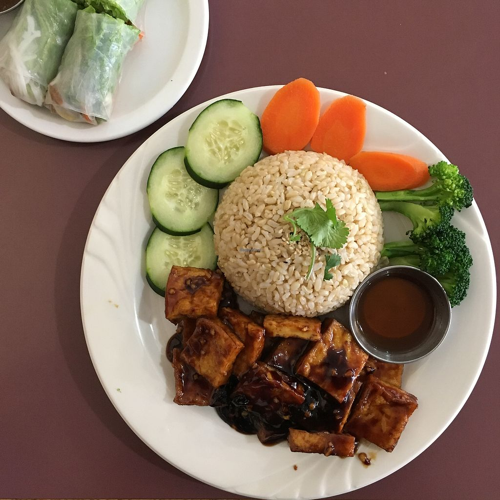 "Photo of All Chay  by <a href=""/members/profile/igioVegan"">igioVegan</a> <br/>Ginger Tofu, Brown Rice and Vegetables  <br/> March 20, 2018  - <a href='/contact/abuse/image/56569/373429'>Report</a>"