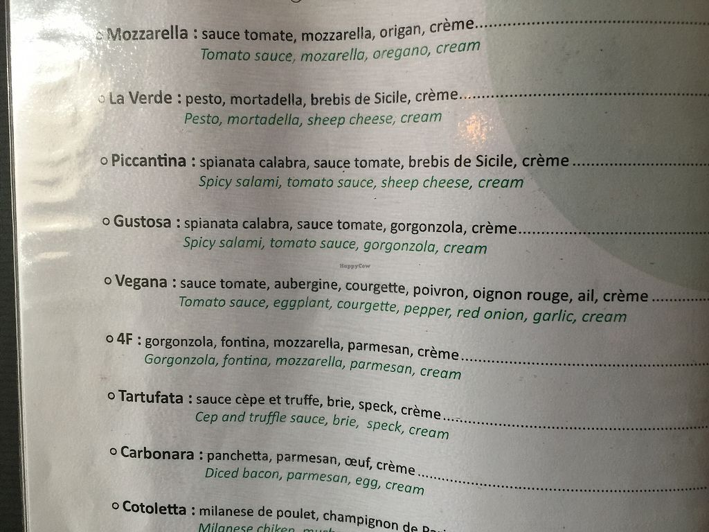 """Photo of Green Soft Bar  by <a href=""""/members/profile/BeckLauer"""">BeckLauer</a> <br/>""""Vegan"""" pasta pointed out by staff clearly lists cream as an ingredient (the Vegana) <br/> August 16, 2017  - <a href='/contact/abuse/image/56599/293302'>Report</a>"""
