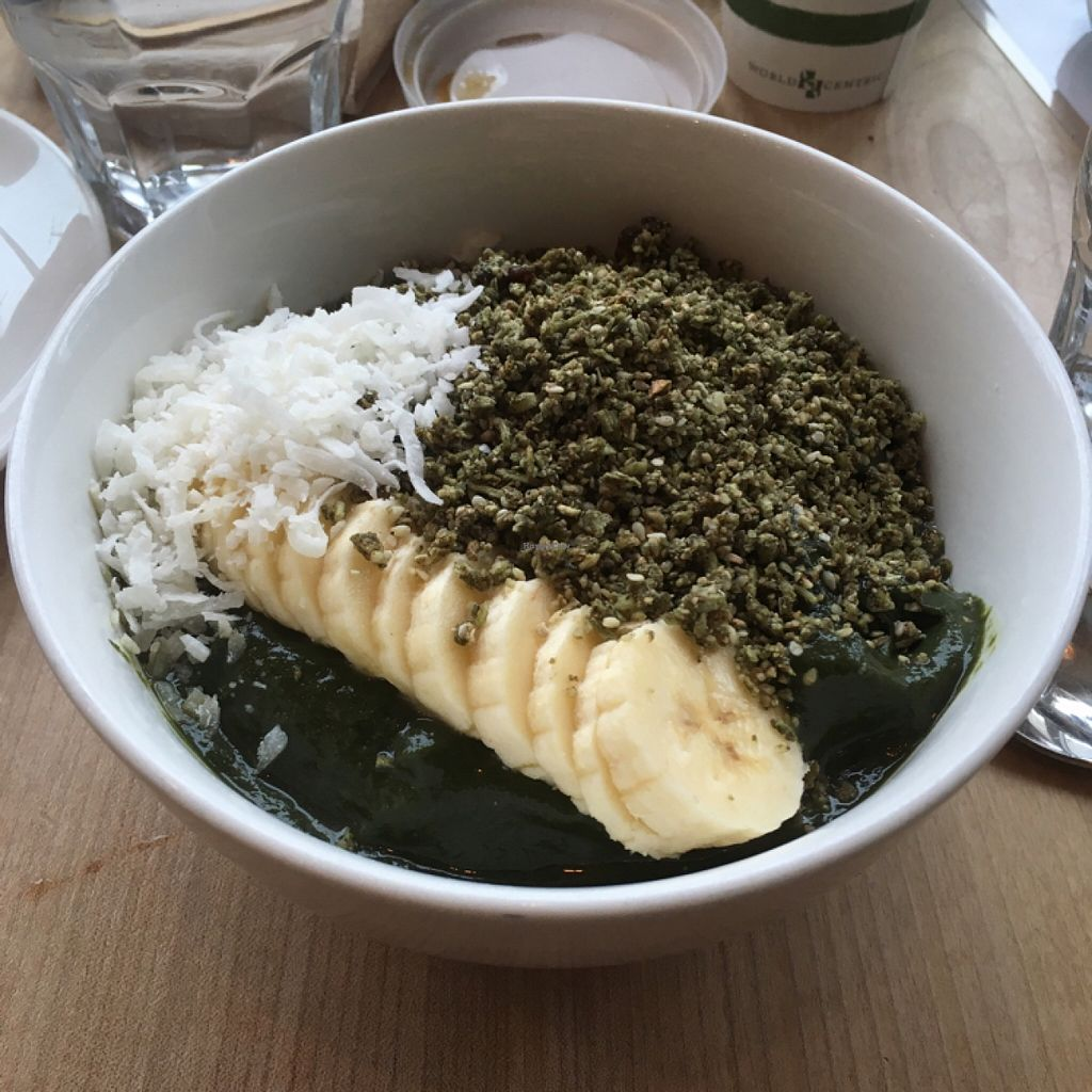 """Photo of Nourish Cafe - Richmond District  by <a href=""""/members/profile/AshleyAutumn"""">AshleyAutumn</a> <br/>green Acai bowl <br/> March 5, 2016  - <a href='/contact/abuse/image/56623/138865'>Report</a>"""