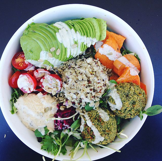 """Photo of Nourish Cafe - Richmond District  by <a href=""""/members/profile/rawplaylove"""">rawplaylove</a> <br/>Nourish Salad with Falafel <br/> June 27, 2017  - <a href='/contact/abuse/image/56623/273843'>Report</a>"""