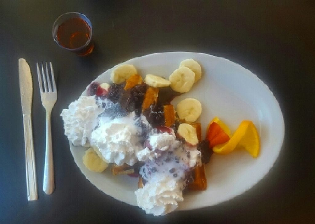 """Photo of Tia B's La Waffleria  by <a href=""""/members/profile/Tashapfeiffer"""">Tashapfeiffer</a> <br/>vegan waffles with bananas, blueberry sauce and coconut whipped cream! <br/> May 23, 2016  - <a href='/contact/abuse/image/56673/150569'>Report</a>"""