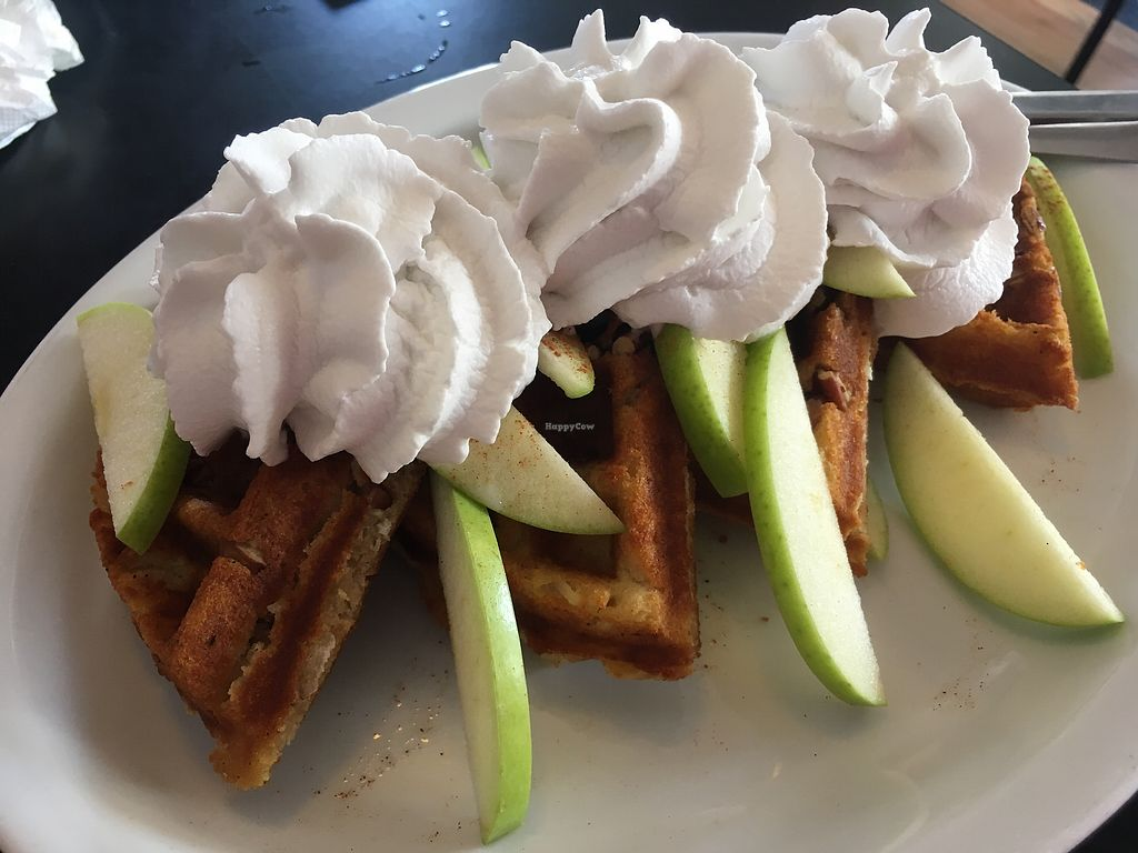 """Photo of Tia B's La Waffleria  by <a href=""""/members/profile/AlexandraPhillips"""">AlexandraPhillips</a> <br/>Build your own #vegan waffles! I had pecans cooked in batter with cinnamon, apples and coconut whipped cream <br/> July 31, 2017  - <a href='/contact/abuse/image/56673/286896'>Report</a>"""