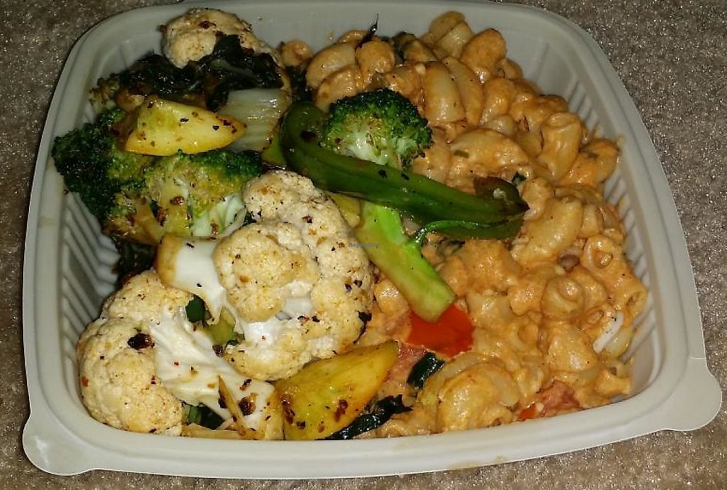 """Photo of Good Karma Vegan Catering  by <a href=""""/members/profile/shevaun86"""">shevaun86</a> <br/>Chili mac and cheese with veggies!  <br/> April 12, 2015  - <a href='/contact/abuse/image/56683/198676'>Report</a>"""