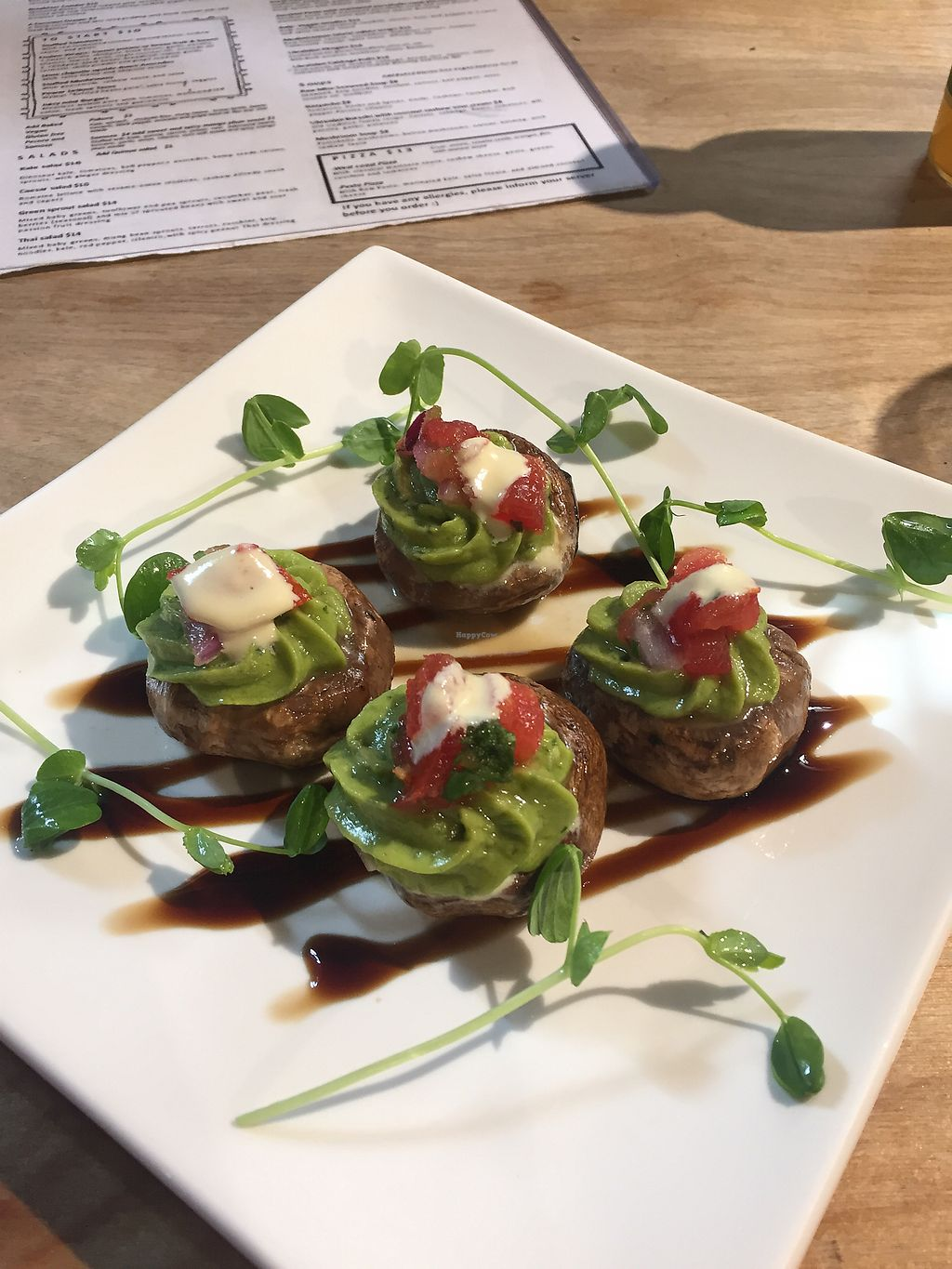 """Photo of Indigo Age Cafe  by <a href=""""/members/profile/TheFlyingVegan"""">TheFlyingVegan</a> <br/>Stuffed mushroom starter <br/> July 28, 2017  - <a href='/contact/abuse/image/56700/285705'>Report</a>"""