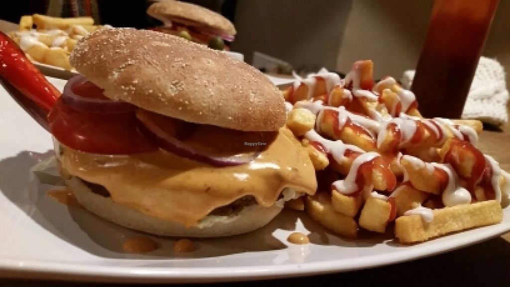 """Photo of The Vegan Bar  by <a href=""""/members/profile/JohnTheVegan"""">JohnTheVegan</a> <br/>Chili Burger (not sure of Swedish name) <br/> December 12, 2015  - <a href='/contact/abuse/image/56739/128049'>Report</a>"""