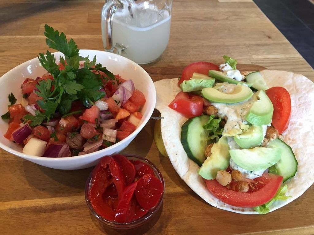 """Photo of The Vegan Bar  by <a href=""""/members/profile/JessicaMerced"""">JessicaMerced</a> <br/>Chickpea taco and tomato salad <br/> August 5, 2016  - <a href='/contact/abuse/image/56739/165885'>Report</a>"""