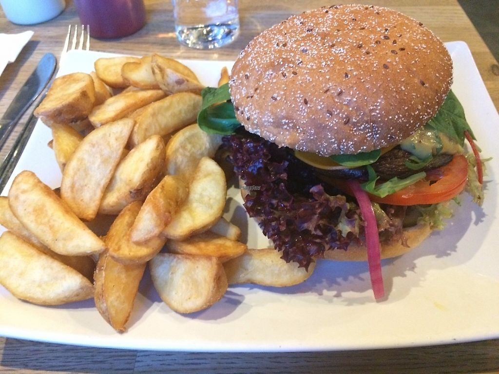 """Photo of The Vegan Bar  by <a href=""""/members/profile/LisaCupcake"""">LisaCupcake</a> <br/>Portobello mushroom burger (the burger part was a giant portobello mushroom, but there were other options) <br/> January 5, 2017  - <a href='/contact/abuse/image/56739/208381'>Report</a>"""