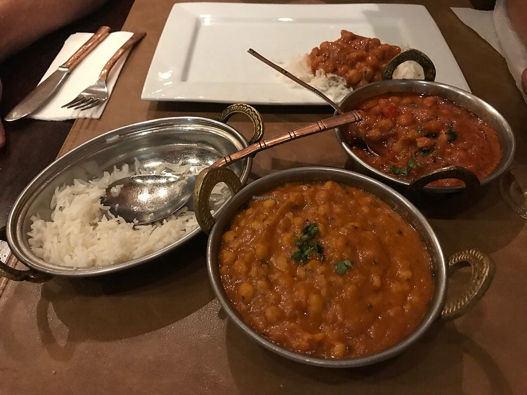 """Photo of Taj Mahal  by <a href=""""/members/profile/VeganRowH"""">VeganRowH</a> <br/>Chickpea curry and Dahl with plain pillal rice <br/> August 20, 2017  - <a href='/contact/abuse/image/56766/294897'>Report</a>"""
