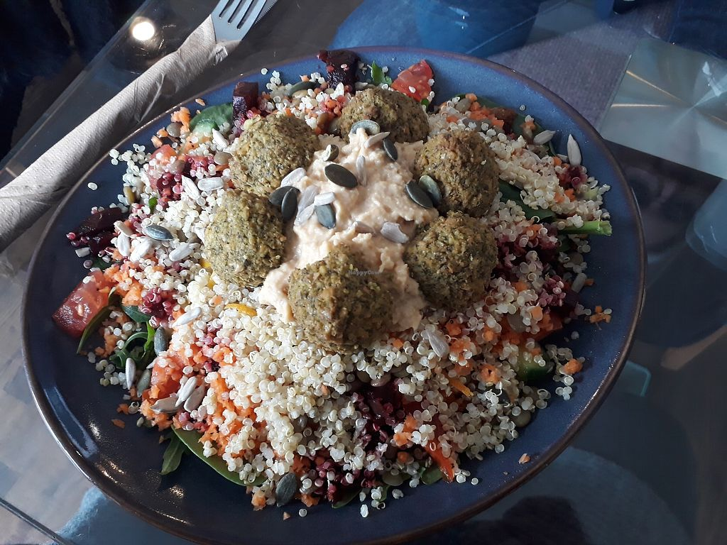 """Photo of The Organic Coffee House  by <a href=""""/members/profile/IzzyOHare"""">IzzyOHare</a> <br/>Falafel salad with homemade hummus! <br/> February 15, 2018  - <a href='/contact/abuse/image/56773/359677'>Report</a>"""