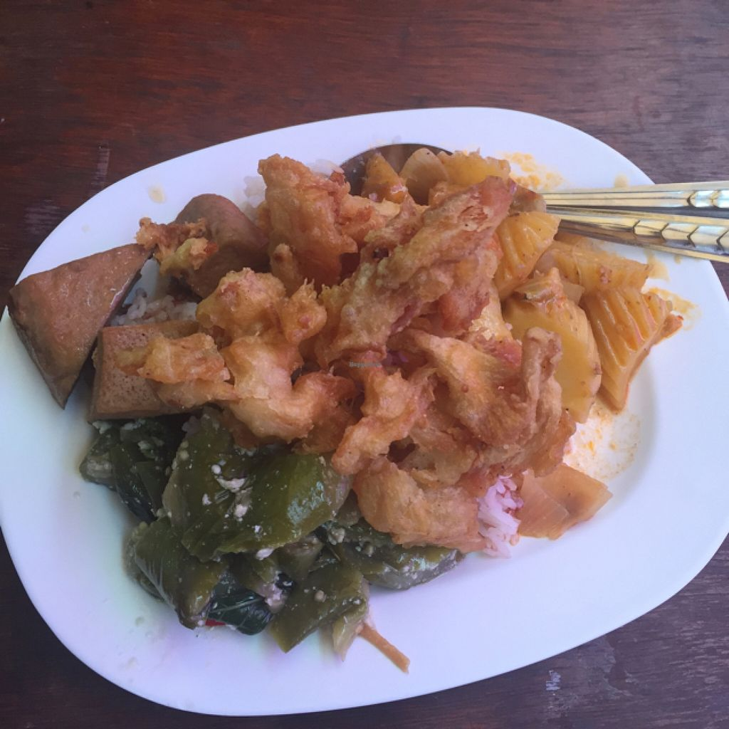 "Photo of Veg Food Stall  by <a href=""/members/profile/Pesto%20Monster"">Pesto Monster</a> <br/>tofu cinnamon with fried eggplant, massaman curry , and deep fried mushroom  <br/> August 31, 2015  - <a href='/contact/abuse/image/56785/116054'>Report</a>"