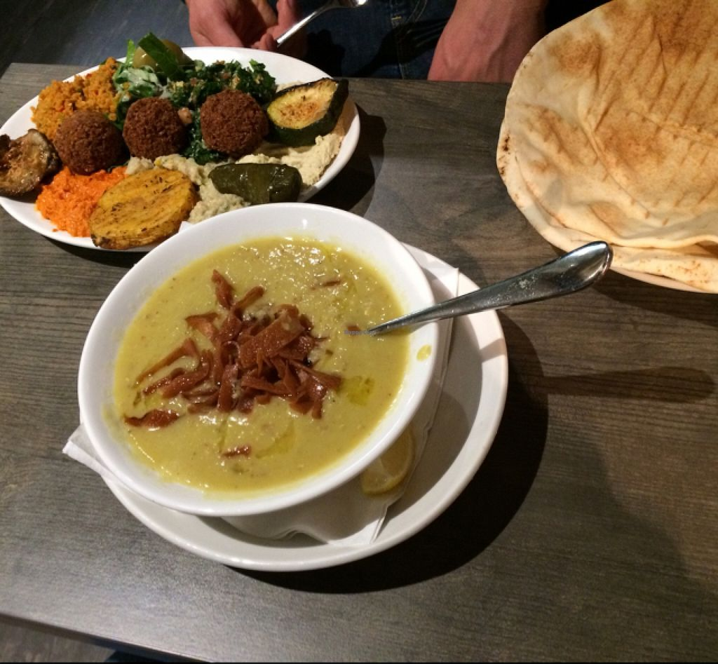 "Photo of Mahmoud's  by <a href=""/members/profile/Plantpower"">Plantpower</a> <br/>mixed plate and lentil soup  <br/> September 24, 2015  - <a href='/contact/abuse/image/56794/118892'>Report</a>"