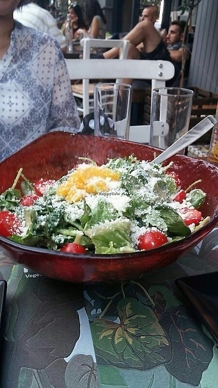 """Photo of rOOTS  by <a href=""""/members/profile/Fenchurch42"""">Fenchurch42</a> <br/>Green salad with vegan mozzarella.  <br/> July 21, 2017  - <a href='/contact/abuse/image/56798/282755'>Report</a>"""