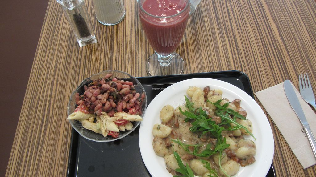 """Photo of Maran Vegan Bistro  by <a href=""""/members/profile/zippper4"""">zippper4</a> <br/>My lunch at Maran Vegan Bistro: Vegan gnocchi,Veggie sausage with sauce and Mache salad, with crudity: beans and pasta with onions :) <br/> August 3, 2015  - <a href='/contact/abuse/image/56820/112062'>Report</a>"""