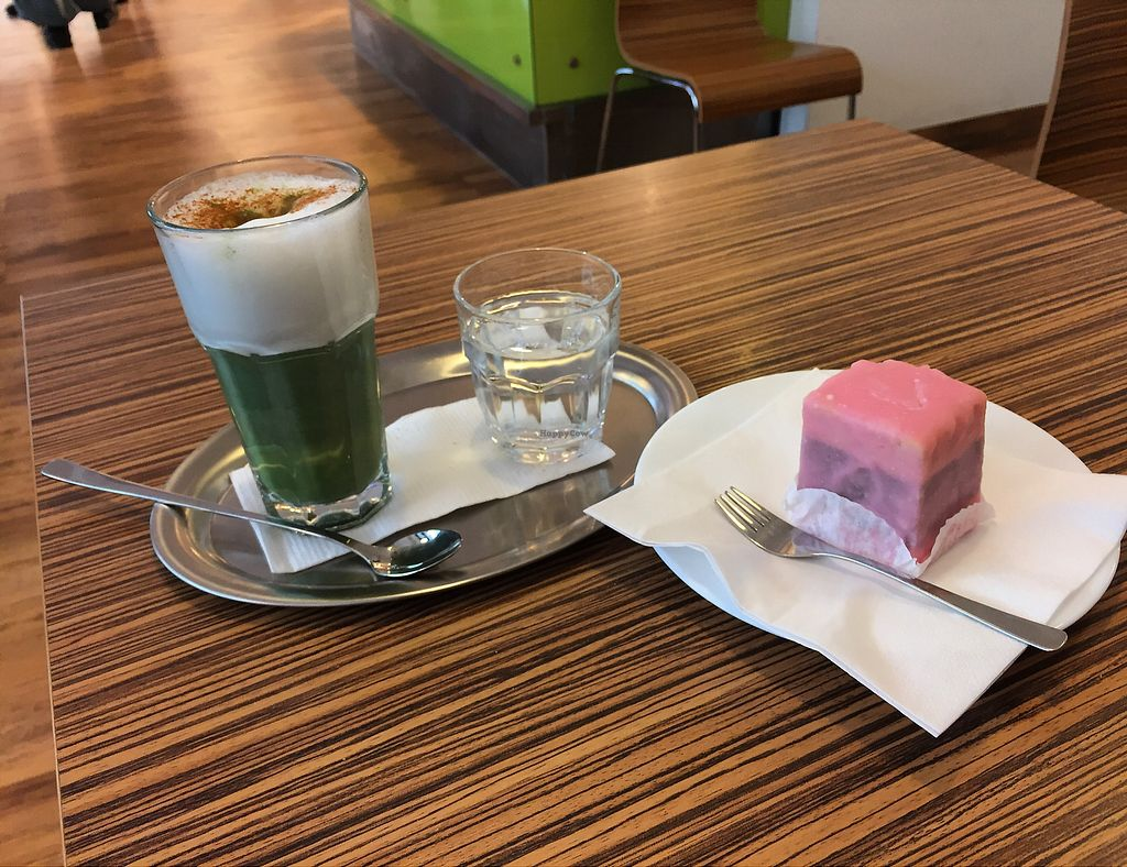 """Photo of Maran Vegan Bistro  by <a href=""""/members/profile/Knauji82"""">Knauji82</a> <br/>Punschkrapfen and matcha latte <br/> September 15, 2017  - <a href='/contact/abuse/image/56820/304746'>Report</a>"""