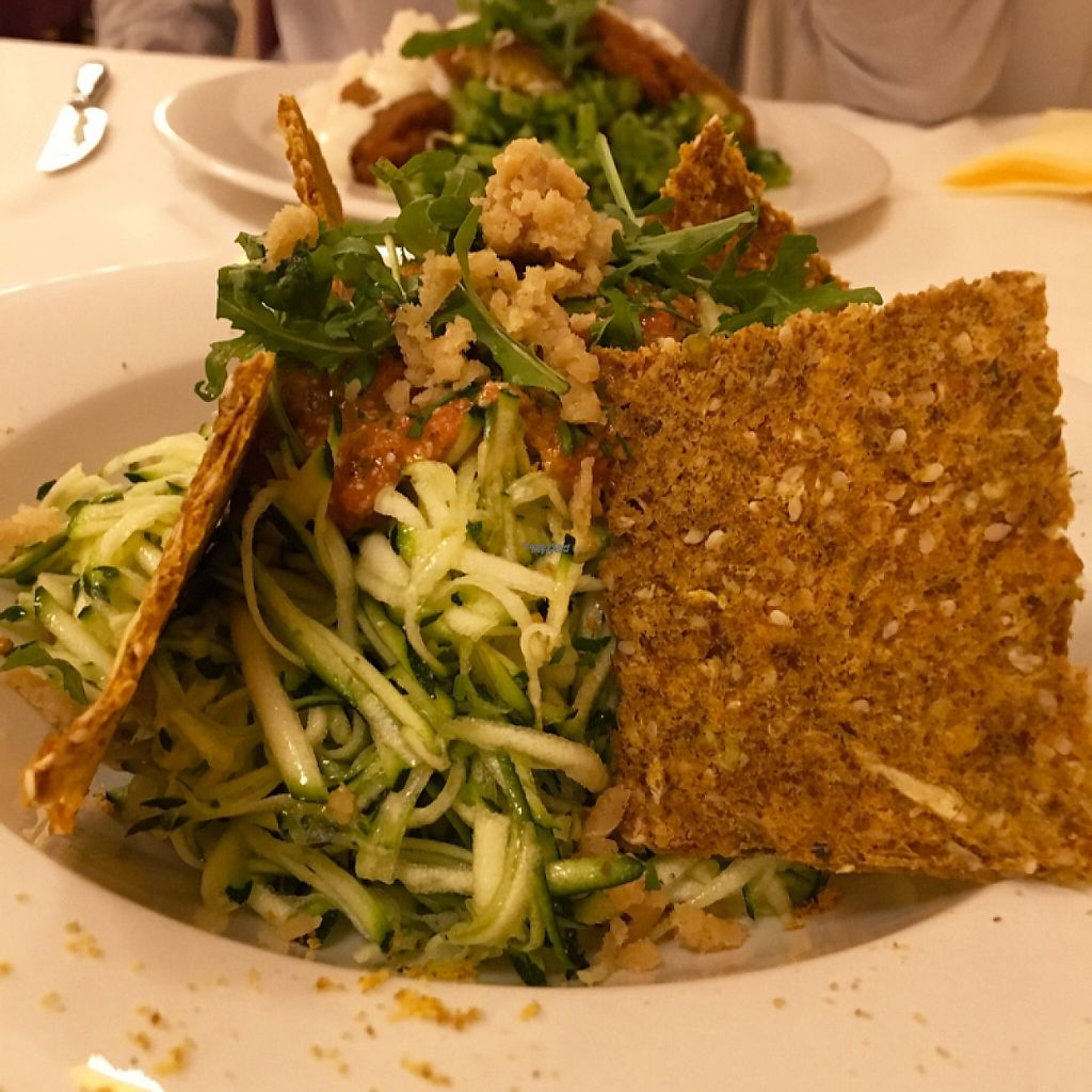 """Photo of CLOSED: Napfenyes Bistro  by <a href=""""/members/profile/Vegangypsy"""">Vegangypsy</a> <br/>Raw zucchini pasta <br/> December 2, 2016  - <a href='/contact/abuse/image/56837/196805'>Report</a>"""