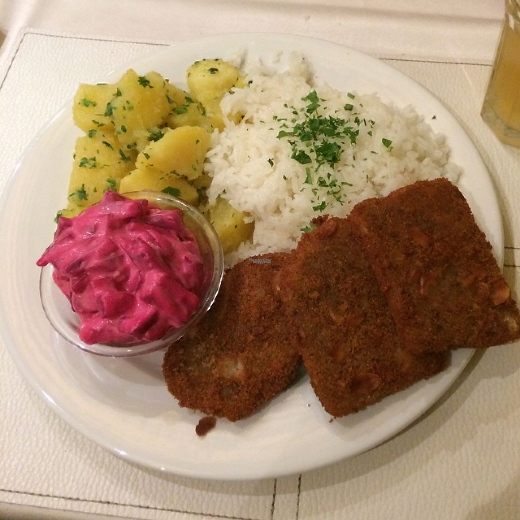"""Photo of CLOSED: Napfenyes Bistro  by <a href=""""/members/profile/WarsaW"""">WarsaW</a> <br/>Seitan steaks with potatoes, jasmine rice and maionese with beet (delicious!) <br/> April 26, 2017  - <a href='/contact/abuse/image/56837/252844'>Report</a>"""