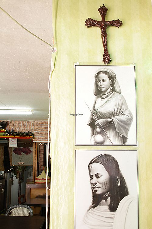 """Photo of Andu Caffe  by <a href=""""/members/profile/AnduCafe"""">AnduCafe</a> <br/>Andu Cafe Interior design - drawings of traditional Ethiopian people <br/> June 28, 2017  - <a href='/contact/abuse/image/56847/274315'>Report</a>"""