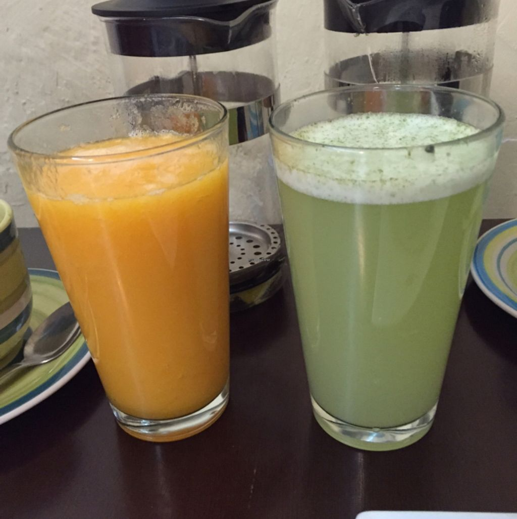 """Photo of CLOSED: The Green Patio  by <a href=""""/members/profile/lovekaletravel"""">lovekaletravel</a> <br/>juices-lemonade w coconut and lime and papaya & orange <br/> October 3, 2015  - <a href='/contact/abuse/image/56856/119989'>Report</a>"""