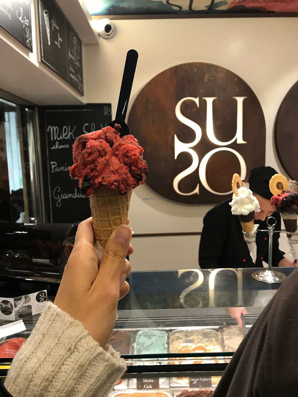 """Photo of Gelatoteca SuSo  by <a href=""""/members/profile/kherrmann"""">kherrmann</a> <br/>Raspberry and dark chocolate flavor <br/> November 11, 2017  - <a href='/contact/abuse/image/56920/324330'>Report</a>"""