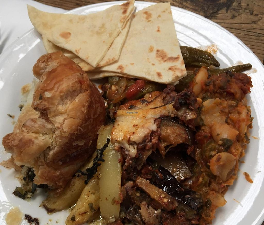 """Photo of CLOSED: The Travelling Greek - Market Stall  by <a href=""""/members/profile/AaronTimo"""">AaronTimo</a> <br/>moussaka, spinach and tofu pie with lemon potatoes <br/> April 7, 2015  - <a href='/contact/abuse/image/56975/255310'>Report</a>"""