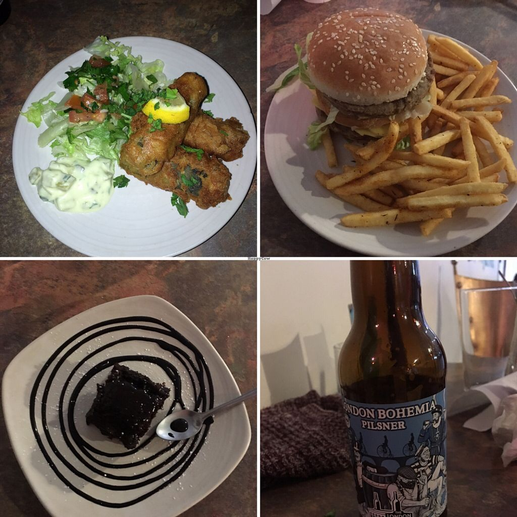 """Photo of CLOSED: Veg Bar  by <a href=""""/members/profile/Dweezil85"""">Dweezil85</a> <br/>'fish' stix, burger, peanut butter brownie, pilsner <br/> March 29, 2016  - <a href='/contact/abuse/image/56985/141784'>Report</a>"""