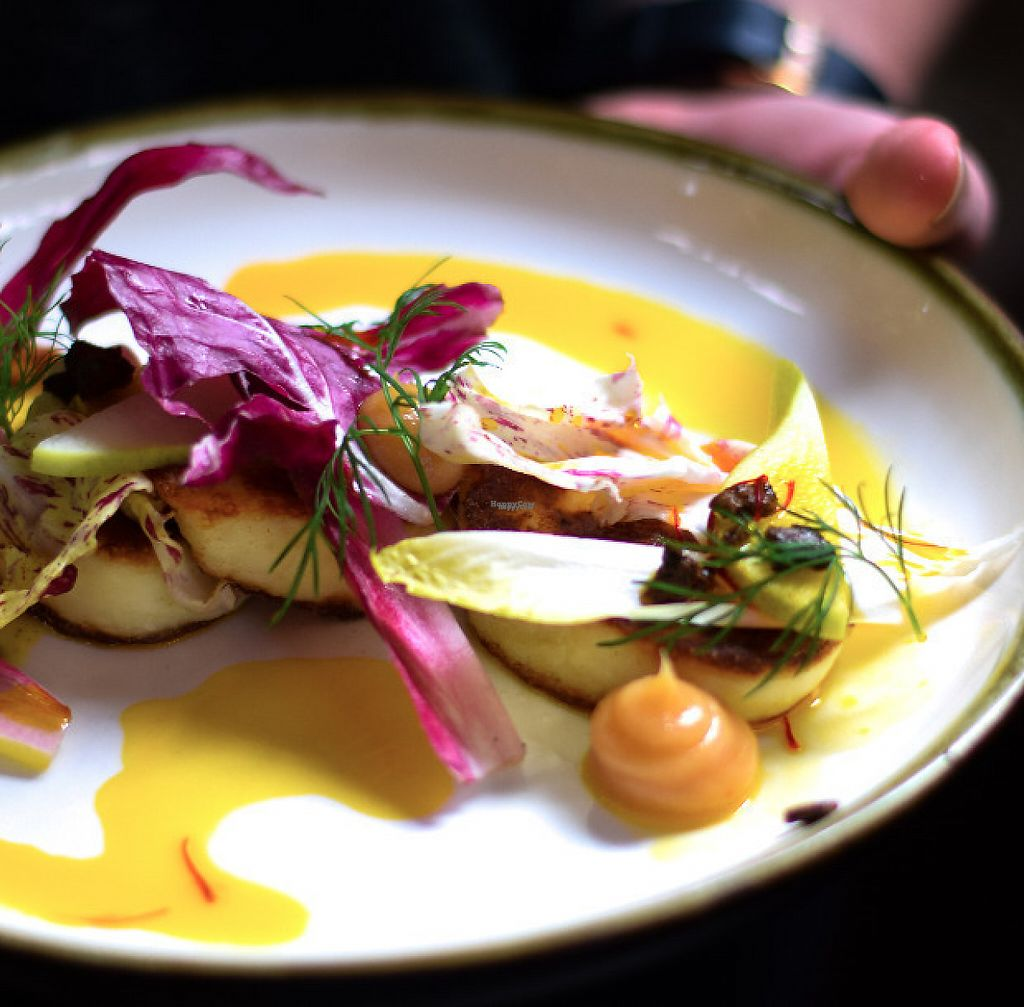 """Photo of Transformer Fitzroy  by <a href=""""/members/profile/Transformer"""">Transformer</a> <br/>Grilled Haloumi with Pear Walnuts, bitter leaves, Saffron syrup <br/> September 5, 2016  - <a href='/contact/abuse/image/56986/256541'>Report</a>"""