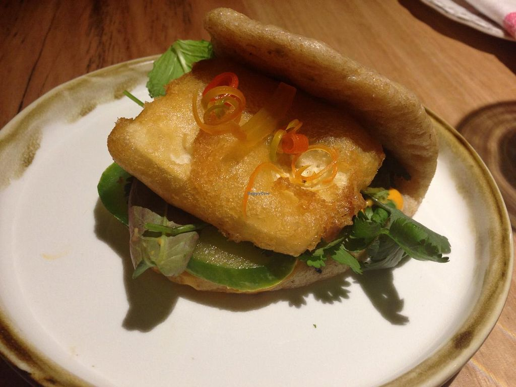 """Photo of Transformer Fitzroy  by <a href=""""/members/profile/Tiggy"""">Tiggy</a> <br/>Spelt and seed steamed bun, crispy organic tofu, pickled cucumber and Gochujang mayo - April 2015 <br/> April 15, 2015  - <a href='/contact/abuse/image/56986/99116'>Report</a>"""