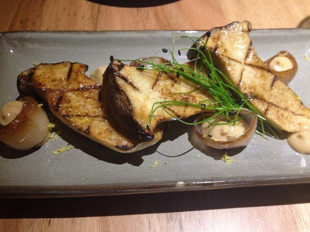 """Photo of Transformer Fitzroy  by <a href=""""/members/profile/Tiggy"""">Tiggy</a> <br/>King oyster mushroom, confit garlic, pine nut purée, smoked shallot, porcini salt - April 2015 <br/> April 15, 2015  - <a href='/contact/abuse/image/56986/99118'>Report</a>"""