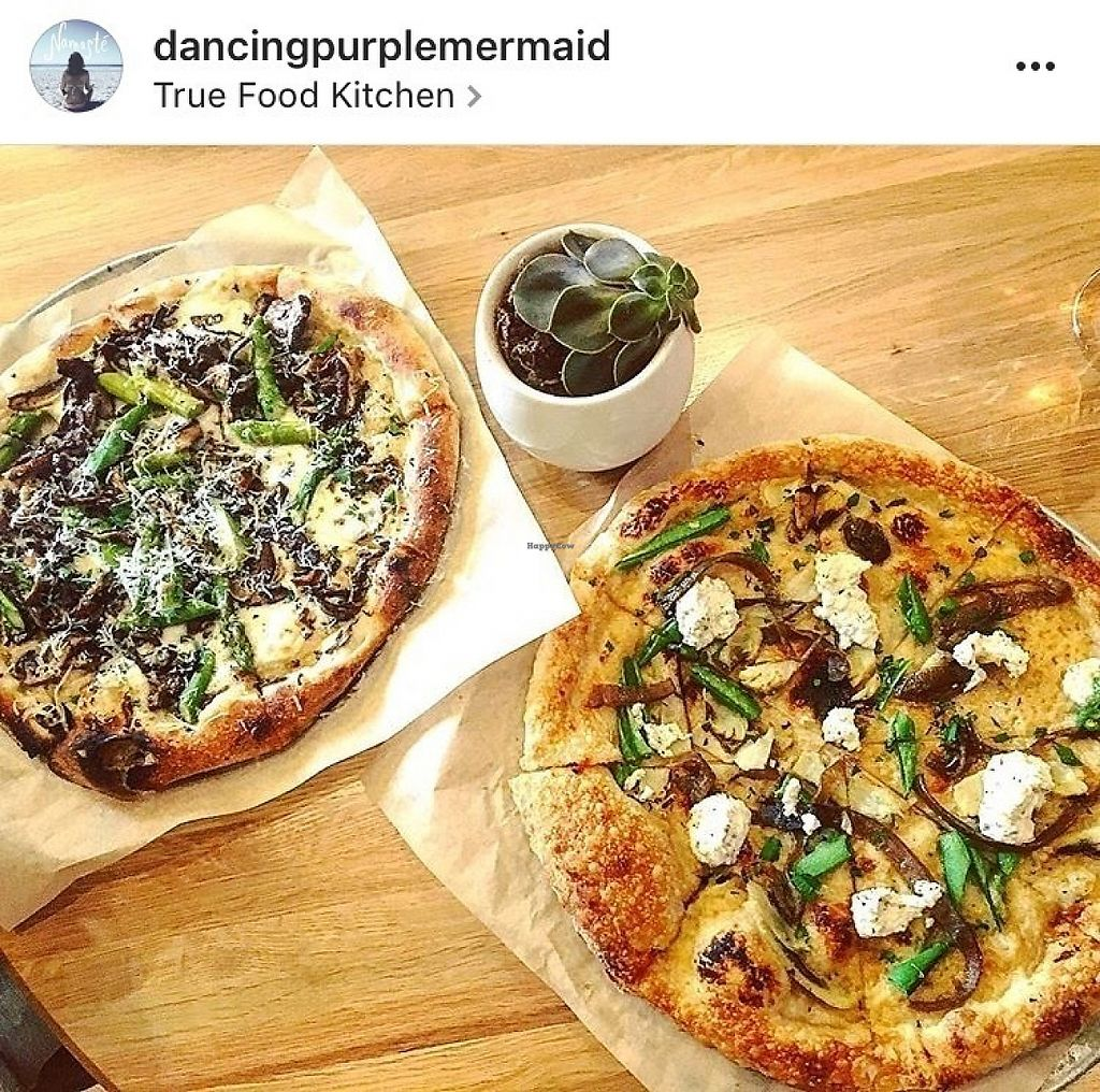 "Photo of True Food Kitchen  by <a href=""/members/profile/Dancingpurplemermaid"">Dancingpurplemermaid</a> <br/>Vegetarian mushroom pizza for my boyfriend and vegan cashew ricotta pizza for me <br/> May 31, 2017  - <a href='/contact/abuse/image/56993/264533'>Report</a>"