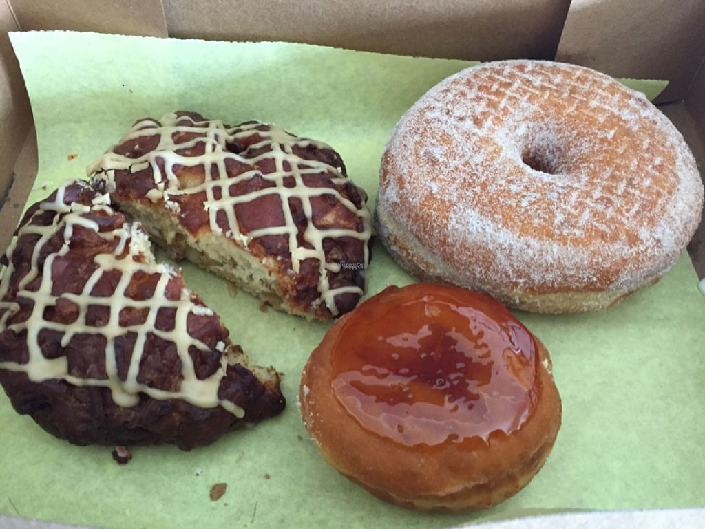 """Photo of Donut Bar  by <a href=""""/members/profile/NickiPT"""">NickiPT</a> <br/>apple fritter, cinnamon sugar, and creme brûlée donuts <br/> November 1, 2016  - <a href='/contact/abuse/image/57006/185948'>Report</a>"""