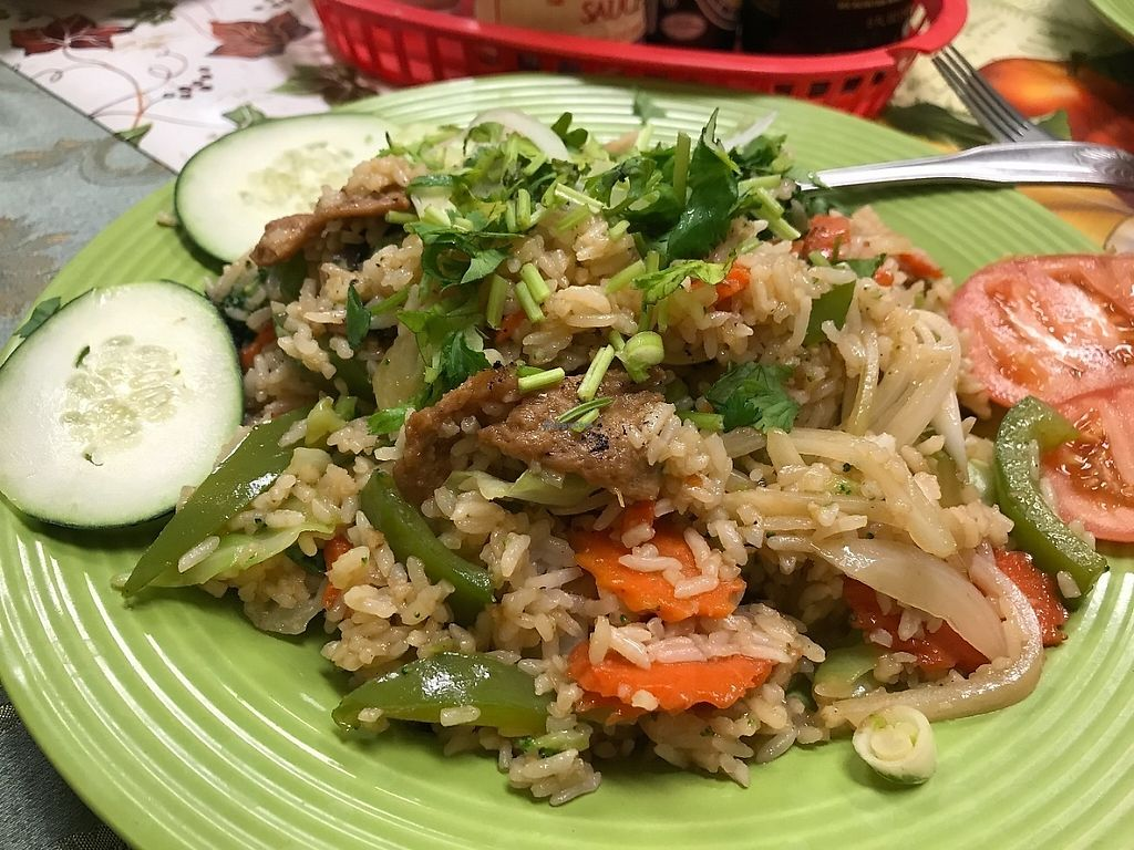 """Photo of CLOSED: Green Lotus Vegan  by <a href=""""/members/profile/Tigra220"""">Tigra220</a> <br/>Vegetable Fried Rice w/ soy chicken <br/> May 29, 2017  - <a href='/contact/abuse/image/57012/264002'>Report</a>"""