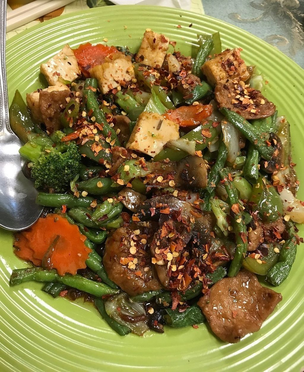 """Photo of CLOSED: Green Lotus Vegan  by <a href=""""/members/profile/Tigra220"""">Tigra220</a> <br/>Hot & Spicy Green Beans w/ soy chicken  <br/> May 29, 2017  - <a href='/contact/abuse/image/57012/264003'>Report</a>"""