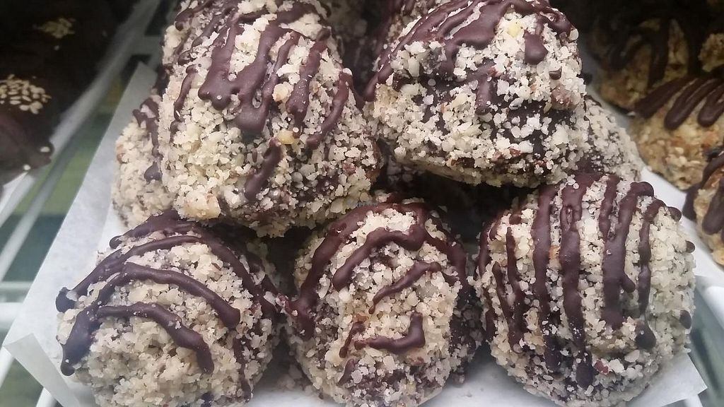 """Photo of Cafe Gratitude - DTLA  by <a href=""""/members/profile/kenvegan"""" class=""""title__title"""">kenvegan</a> <br/>dessert balls <br/> July 12, 2015  - <a href='/contact/abuse/image/57026/109125'>Report</a>"""